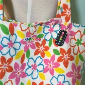 BEEPOSH tote bag purse Fleece striped orange pink  w// key chain